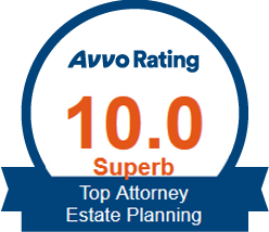 Avvo badge showing ten point o score for estate planning